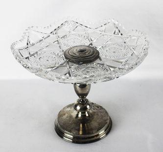 """Арт-студия """"Кентавр"""" - Старинная серебряная ваза для фруктов с хрусталем  №012245"""