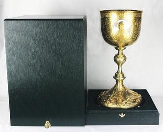 """Арт-студия """"Кентавр"""" - Старинный серебряный потир с изображением Христа, Богоматери и Иоанна Крестителя №012340"""