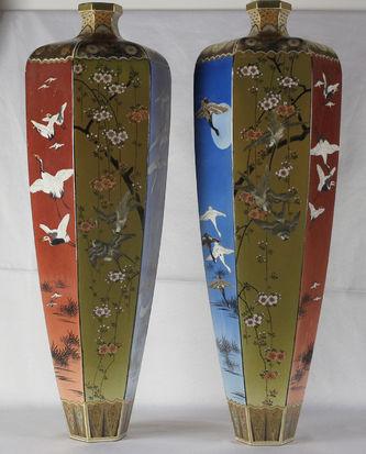 """Арт-студия """"Кентавр"""" - Парные  напольные  вазы с изображением цветов, птиц и бабочек. №012555"""