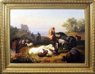 """Арт-студия """"Кентавр"""" - Боттомли Джон Уильям (1816-1900) - """"Пастухи лошадей в Римской Кампанье"""" №012579"""