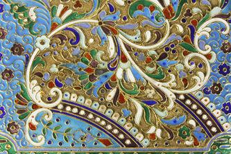 """Арт-студия """"Кентавр"""" - Старинный серебряный портсигар с эмалью №012583"""