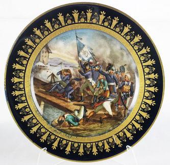 """Арт-студия """"Кентавр"""" - Антикварная фарфоровая тарелка с изображением батальной сцены на Аркольском мосту в 1796 году. №012592"""
