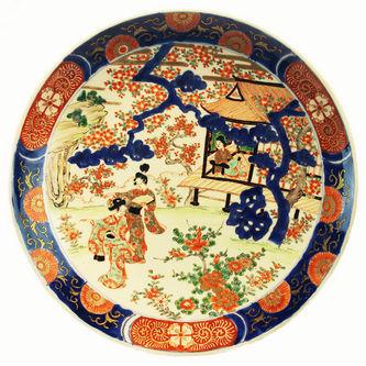 """Арт-студия """"Кентавр"""" - Большое старинное китайское блюдо с изображением жанровой сцены №012626"""
