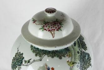 """Арт-студия """"Кентавр"""" - Старинная китайская фарфоровая ваза с изображением птиц и цветов №012715"""