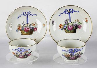 """Арт-студия """"Кентавр"""" - Чайные пары с изображением корзин с цветами. 1774-1790 гг (период Марколини) №012857"""