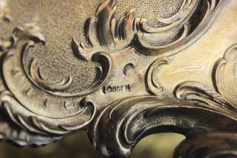 """Арт-студия """"Кентавр"""" - Большая старинная серебряная фруктовница с хрусталем №012894"""