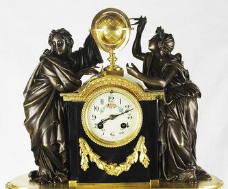 "Арт-студия ""Кентавр"" - Антикварные каминные часы ""Аллегория Геометрии и Астрономии"" №012984"