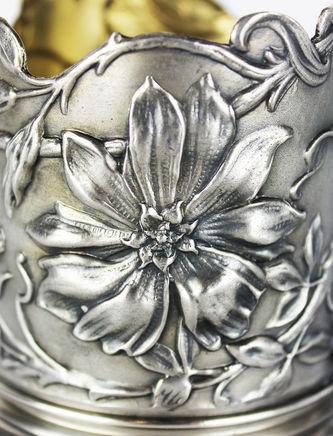 """Арт-студия """"Кентавр"""" - Старинный серебряный подстаканник в стиле модерн №013275"""