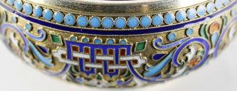 """Арт-студия """"Кентавр"""" - Серебряная антикварная солонка, украшенная перегородчатой эмалью №013303"""