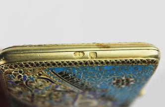 """Арт-студия """"Кентавр"""" - Старинный серебряный портсигар, украшенный перегородчатой эмалью №013411"""
