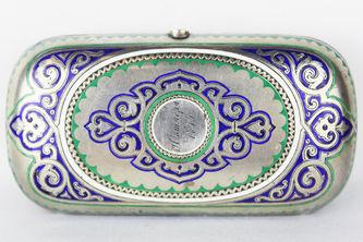"""Арт-студия """"Кентавр"""" - Старинный портсигар с изображением цветов №013486"""