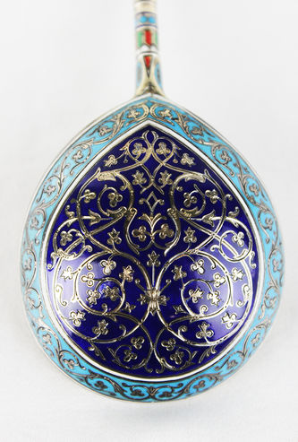 """Арт-студия """"Кентавр"""" - Старинная серебряная ложка, декорированная выямчатыми эмалями №013489"""