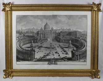 "Арт-студия ""Кентавр"" - Вази Джузеппе (1710-1782) - ""Главный вид на собор и площадь Святого Петра в Ватикане""  №013614"