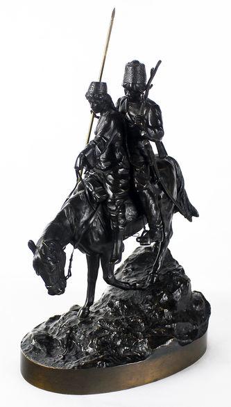 """Арт-студия """"Кентавр"""" - Бронзовая скульптура """"Казак и казачка"""" №013626"""