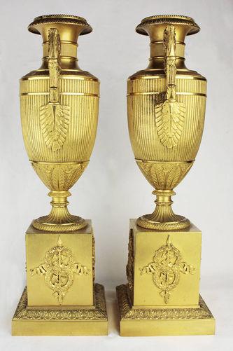 """Арт-студия """"Кентавр"""" - Старинные бронзовые парные вазы (подсвечники) в стиле ампир №013768"""