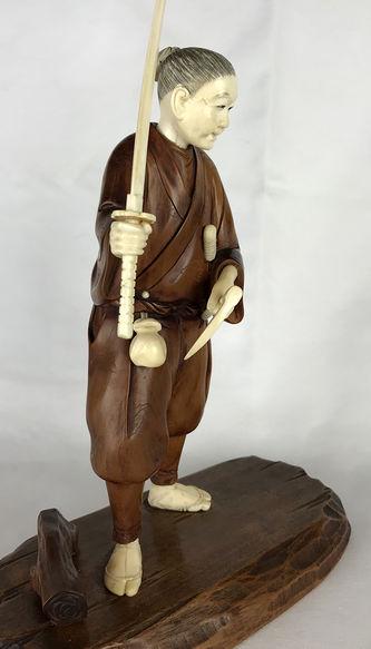 """Арт-студия """"Кентавр"""" - Окимоно """"Самурай с мечами катана, вакидзаси и кусари-гама"""" №013834"""