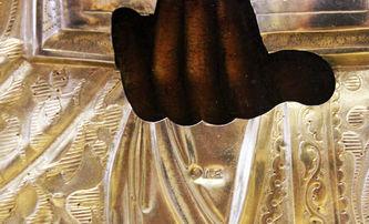 """Арт-студия """"Кентавр"""" - Старинная икона Господь Вседержитель (Пантократор) в серебряном окладе №014100"""
