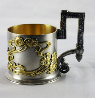 """Арт-студия """"Кентавр"""" - Старинный серебряный подстаканник в стиле модерн №014206"""