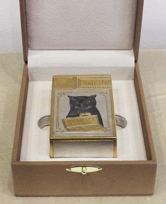 """Арт-студия """"Кентавр"""" - Серебряная коробка для хранения сигарет с изображением кота №014219"""