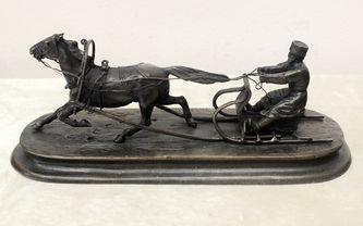 """Арт-студия """"Кентавр"""" - Бронзовая кабинетная скульптура """"Крестьянин на санях"""" №014257"""