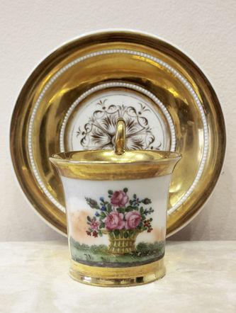 """Арт-студия """"Кентавр"""" - Чайная пара с изображением корзины с цветами №014289"""