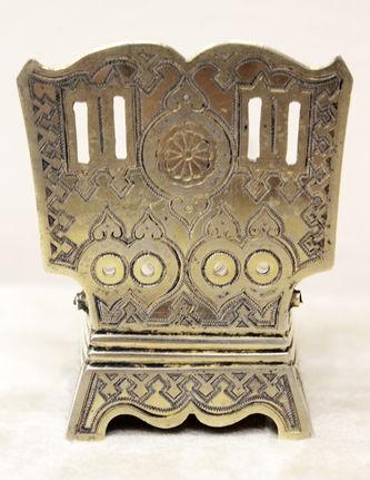 """Арт-студия """"Кентавр"""" - Солонка-стульчик с чернью и подписью """"Безъ соли безъ хлеба половина обеда"""" №014296"""