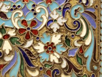 """Арт-студия """"Кентавр"""" - Антикварный серебряный портсигар с перегородчатой эмалью №014297"""
