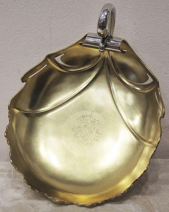 """Арт-студия """"Кентавр"""" - Старинная серебряная сухарница в виде листа в стиле модерн №014320"""