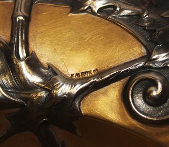 """Арт-студия """"Кентавр"""" - Серебряная конфетница с вишней и чертополохом в стиле модерн №014327"""