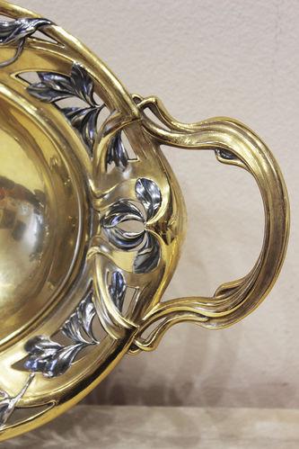 """Арт-студия """"Кентавр"""" - Серебряная конфетница с цветочным декором в стиле модерн №014328"""