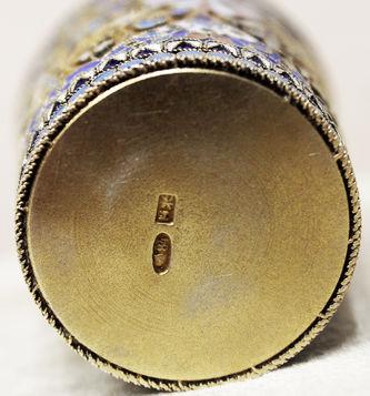 """Арт-студия """"Кентавр"""" - Серебряный стакан с перегородчатой эмалью №014329"""