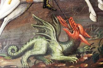 """Арт-студия """"Кентавр"""" - Старинная икона """"Святой великомученик Георгий Победоносец, поражающий змея"""" №014339"""