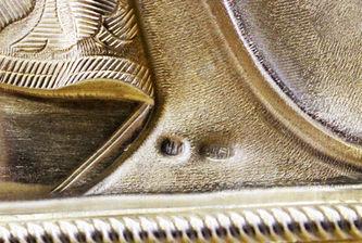 """Арт-студия """"Кентавр"""" - Антикварная икона """"Богоматерь Знамение"""" в окладе с эмалью №014440"""
