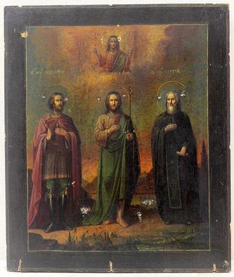 """Арт-студия """"Кентавр"""" - Антикварная икона """"Святой мученик Никита, Иоанн Богослов, святой Сергий"""" №014443"""