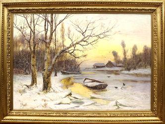 "Арт-студия ""Кентавр"" - ""Зимний пейзаж с лодкой"" №014474"