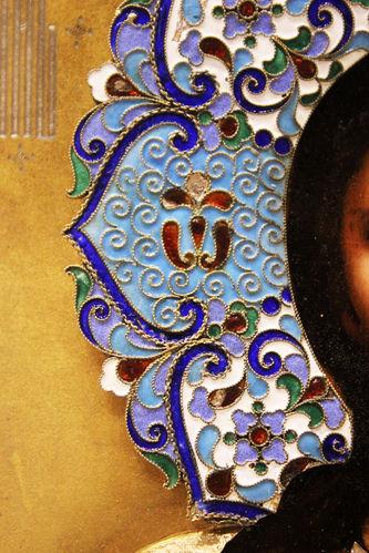 """Арт-студия """"Кентавр"""" - Антикварная икона """"Господь Вседержитель"""" в окладе с эмалевым венцом №014481"""