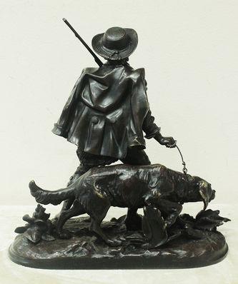"""Арт-студия """"Кентавр"""" - Бронзовая скульптура """"Охотник с собакой"""" №014590"""