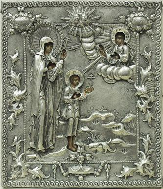 """Арт-студия """"Кентавр"""" - Старинная икона """"Святая Улита и святой Кирик"""" в серебряном окладе №014620"""