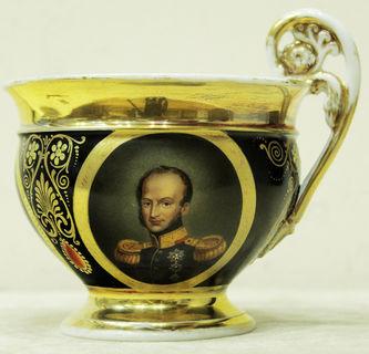 """Арт-студия """"Кентавр"""" - Чайная пара с портретами в медальонах в стиле ампир №014626"""