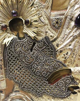 """Арт-студия """"Кентавр"""" - Старинная икона Божьей Матери """"Утоли мои печали"""" в окладе с драгоценными камнями и сканью №014658"""