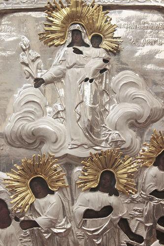 """Арт-студия """"Кентавр"""" - Антикварная икона Пресвятой Богородицы """"Всех скорбящих радость"""" в серебряном окладе №014660"""