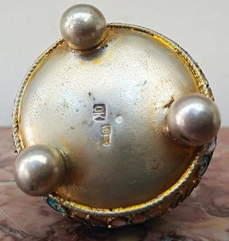 """Арт-студия """"Кентавр"""" - Старинная серебряная солонка с расписной эмалью №014667"""