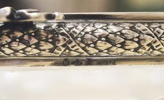 """Арт-студия """"Кентавр"""" - Антикварная хрустальная конфетница в серебряной оправе №014669"""