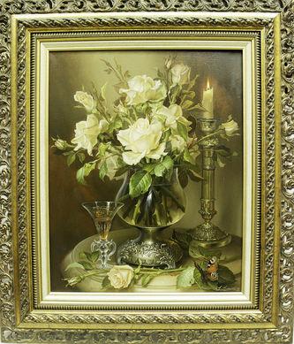 "Арт-студия ""Кентавр"" - ""Натюрморт с розами и свечой"" №014701"