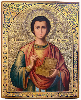 """Арт-студия """"Кентавр"""" - Старинная икона """"Святой великомученик Пантелеймон"""" №014744"""