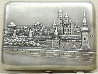 """Арт-студия """"Кентавр"""" - Старинный портсигар с видом Московского Кремля №014863"""