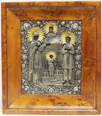 """Арт-студия """"Кентавр"""" - Старинная икона """"Святая Улита, святой Кирик и великомученик Артемий"""" в окладе №014875"""