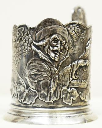"""Арт-студия """"Кентавр"""" - Старинный серебряный подстаканник """"Садко, играющий на гуслях"""" №014886"""