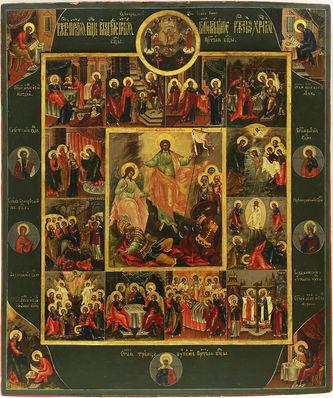 """Арт-студия """"Кентавр"""" - Старинная икона """"Воскресение Христово"""" с двунадесятыми праздниками №014895"""
