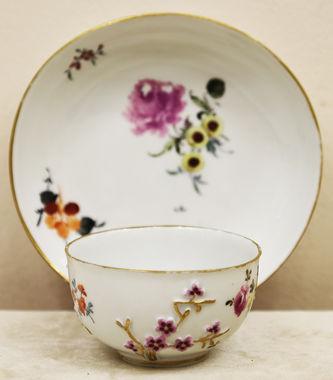 """Арт-студия """"Кентавр"""" - Старинная чайная пара с цветочной композицией  №014977"""